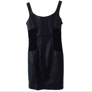 NWT Versace black leather dress with gold zipper